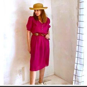 VTG 80s Day Dress H & Y of California Pink midi